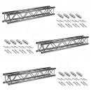 3x Prolyte Truss X30V-L200 Length 2m + Connectors set
