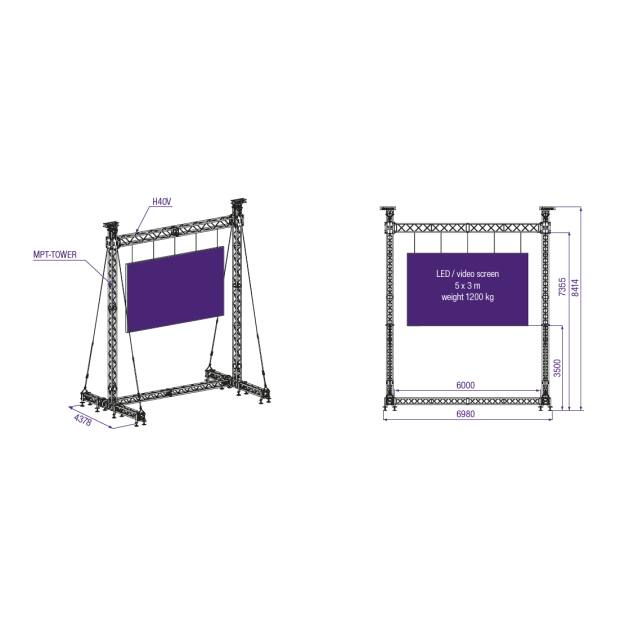 Prolyte MPT Stand LED Wall 1200 KG 5x3m Display