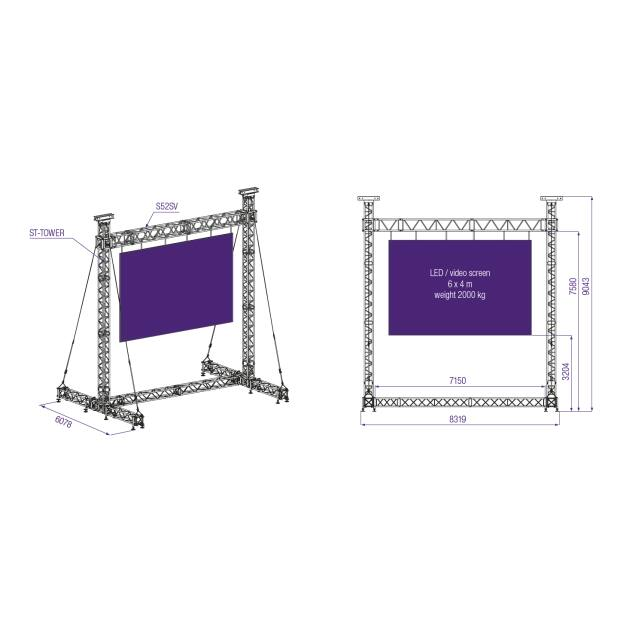 Prolyte ST Stand - LED Wall bis 2000 KG für 6x4m Display