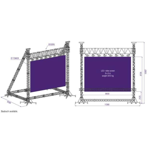 Prolyte ST Stand - LED Wall bis 3072 KG für 8x6m Display