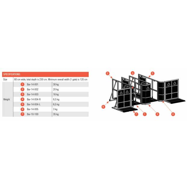 Prolyte StageDex BARRIER LINE UP GATE END SECTION 090 DEG...
